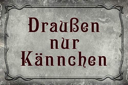 Draußen nur Kännchen Spruch Blechschild Metallschild Schild gewölbt Metal Tin Sign 20 x 30 cm
