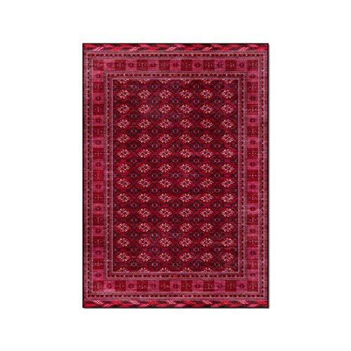 Tapis de sol de chambre à coucher de salon géométrique rouge de style ethnique afghan tapis de chevet d