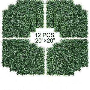 12PCS Artificial Boxwood Topiary Hedge Plant UV Protection Indoor Outdoor Privacy Fence Home Decor Backyard Garden Decoration Greenery Walls 20
