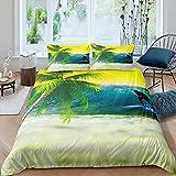 Funda de edredón de palmera de hojas tropicales juego de ropa de cama de olas de mar para niños y niñas hawaianas de verano de microfibra ropa de cama y ropa de cama de lino de tamaño doble