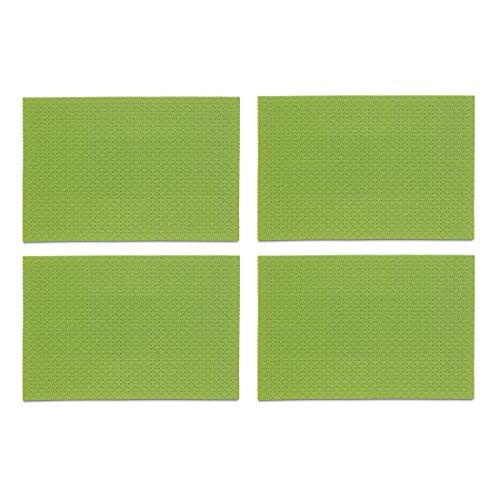 Kela 390140 Tisch-Set in Flecht-Optik, 4 Stück, Abwaschbar, 45 x 30 cm, Plato, grün