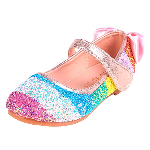 YOSICIL Mädchen ELSA Schuhe Regenbogen Schuhe Kinder Prinzessin Schuhe Eiskönigin Schuhe Karneval Party Tanzschuhe Partei Ballerinas Fasching Weihnachtsfeier Fest Schuhe Bunte Schuhe