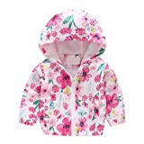 Baby Hoodie Jacket Outwear Floral Printed Zipper Spring Autumn Windproof Trench Coat
