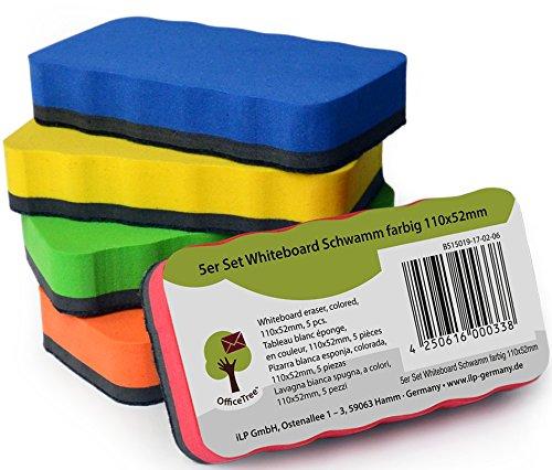 OfficeTree Set 5 Cancellino Lavagna Magnetica Bianca - 5 colori - Cancellino Lavagna Ardesia - Spugnetta Lavagna Magnetiche - Per La Pulizia Delle Lavagne Bianche