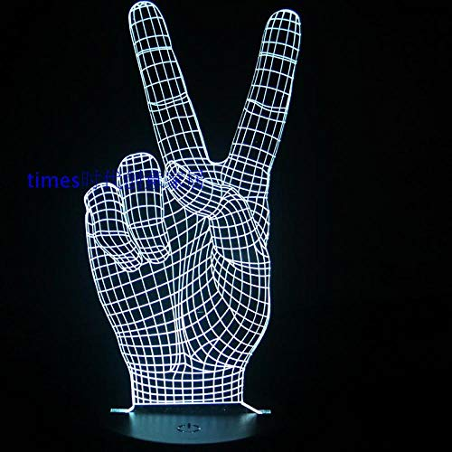 Led Grappige 3D Vision Lamp Palm Kleurrijke Afstandsbediening Kleur Verander Tafellamp Kleine Nachtlamp Stuur Een Vriend Cadeau