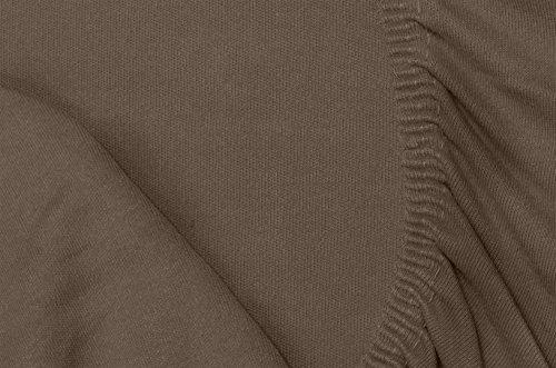 #25 Double Jersey Jersey Spannbettlaken, Spannbetttuch, Bettlaken, 160x200x30 cm, Mocca - 7