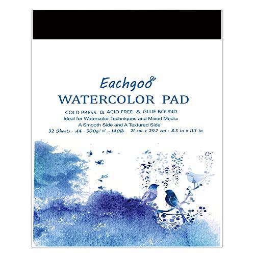 Eachgoo Bloc Acuarela para Pinturas Acuarelas, 32 Hojas A4 Cuadernos de Acuarela Papel Para Principiantes y Artistas