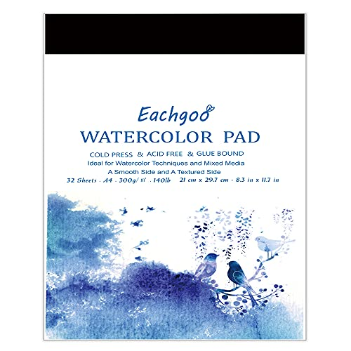 Eachgoo Bloc Acuarela para Pinturas Acuarelas, 2 x 32 Hojas(64 Hojas en Total) A4 Cuadernos de Acuarela Papel para Principiantes y Artistas