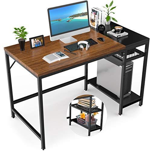 Gikpal Escritorio de Computadora, Mesa de Ordenador Escritotio Estructura de Acero con Estantes Ajustables, Mesa de Estudio Portátil Grande para Oficina en Casa (Teca)