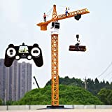 Kioiien Juguete para niños RC Crane Tower Crane Toy Cars Control Remoto Control Engineering Crane 2.4GHz Cargador inalámbrico Bulldozer Excavador Tower Crane Electric RC Coches de juguete para adultos