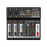 Italian Stage IS 2MIX4FXU - Mixer audio analogico stereo a 4 canali per live, con DSP Multi FX e Bluetooth, Nero