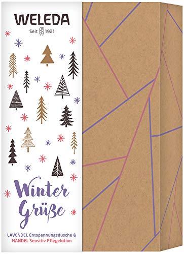 WELEDA Weihnachtsset Lavendel/Mandel 2020 - Naturkosmetik Weihnacht Geschenk Set bestehend aus Lavendel Entspannungs-Dusche (200 ml) & Mandel Pflegelotion (200 ml) in hochwertiger Geschenk Box
