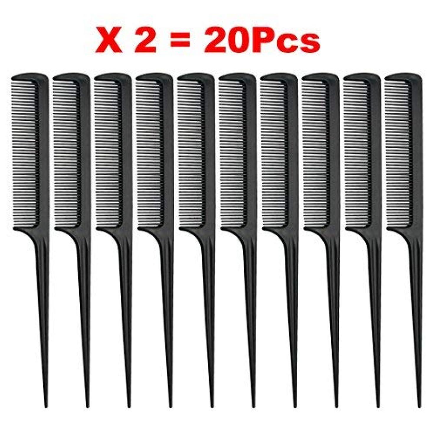 トリプル非アクティブ大胆Rat Tail Comb, Black, 8.3 Inch - Pack of 20 (Tail Comb) [並行輸入品]