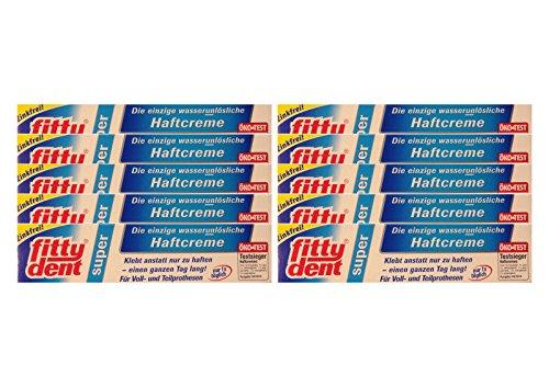 10x FITTYDENT super Haftcreme 40 g PZN 2171042 Wasserunlöslich, Zinkfrei