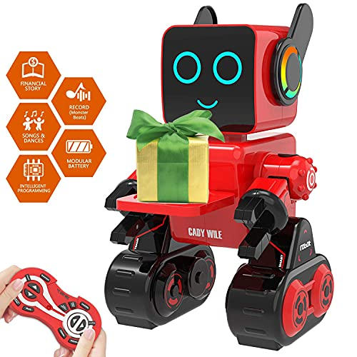 Robot Toy for Kids,Smart RC Robot Kit with Touch and Sound Control Robotics Intelligent Programmable Smart Robot with Walking,Dancing,Singing,Talking,Transfering Items,Good Gift for Boys Girls (Red)