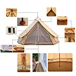 Bell Tent Glamping, 100% Cotton Canvas Waterproof Large Tents 4 Season Waterproof Outdoors Yurt Bell Tent Glamping for… 7