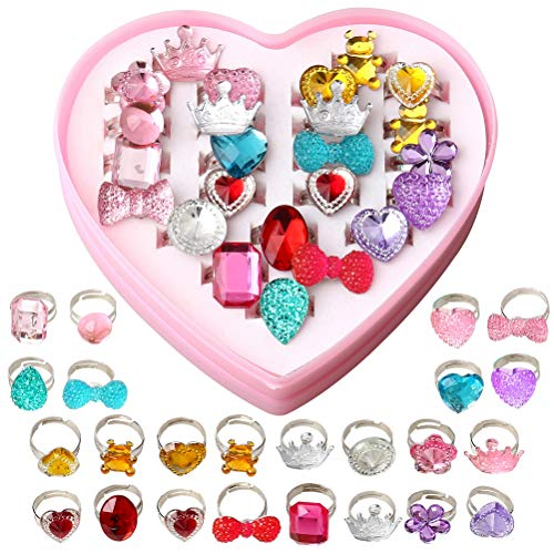 pengxiaomei 24 Pcs Little Girls Princess Jewelry Rings, Random Style Dress up Rings Girls Princess Play Jewelry Toy Adjustable Rings Crystal with Heart Shaped Pink Box