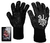 Premium Grillhandschuhe & Ofenhandschuhe - Hitzebeständig bis 800 Grad -Topfhandschuhe mit Anti-Rutsch Silikon - Einsetzbar als Kochhandschuhe und Backofenhandschuhe - Inklusive E-Book - 2 Größen