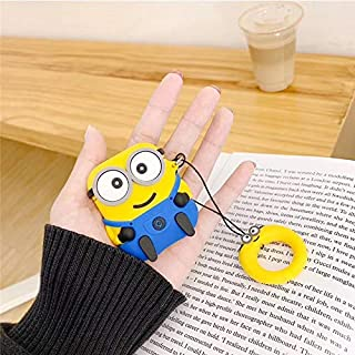 Finger Ring Strap Wireless Earphone Protective Cover 3D Minions Silicone Headphone Case for Apple AirPods 1 2 Wired Charging Box (2)