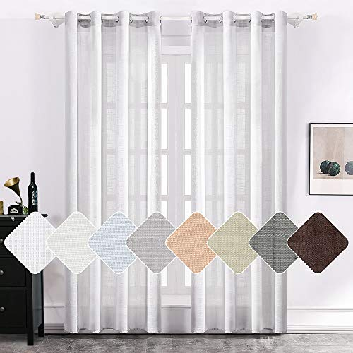 MIULEE 2 Panels Natural Linen Semi Sheer Window Curtains Elegant Solid Light Grey Drapes Grommet Top Window Voile Panels Linen Textured Panels for Bedroom Living Room (52X90 Inch)