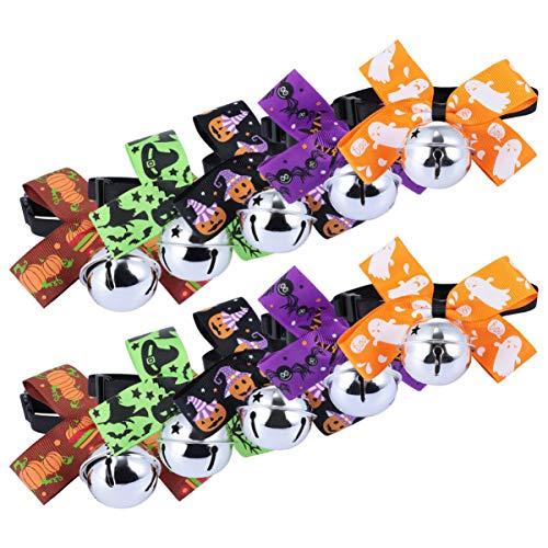 Balacoo 10 Stück Halloween Hund Bowties mit Glocken Welpen Bowties Hundepflege Krawatten Kragen Halloween Kostüm für Hunde Welpen Haustiere