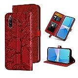 Auslbin für Sony Xperia 10 III Hülle,Handy Lederhülle PU Leder Hülle Brieftasche Handytasche Cover Kompatibel für Sony Xperia 10 III Ledertasche,Rot