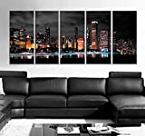 Original by BoxColors XLARGE 30'x 70' 5 Panels 30'x14' Ea Art Canvas Print Chicago Skyline colored lights night (background Black White Gray) Wall decor (framed 1.5' depth)