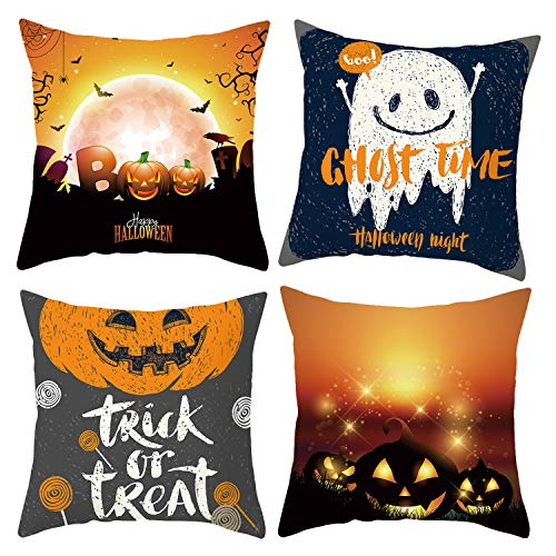 JoyPlay 4Pcs Halloween Cushion Pillow Covers Square Pillowcase Halloween Pumpkin Ghost Decorative for Sofas Beds Chairs Cushion Cover Set,45cm x 45cm