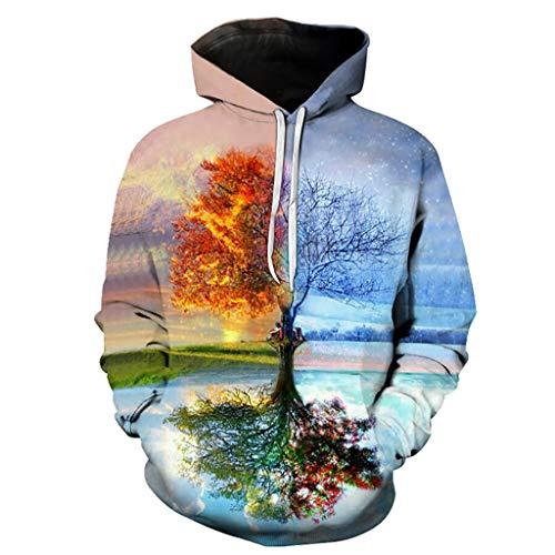 WFF-chair Kordelzug Hoodies 3D Graphic Cool Pullover, Unisex Modisch Kühle Pullover Kapuzen-Sweatshirt 3D-Druck Four Seasons Tree Muster Mode Persönlichkeit Outwear mit Großen Taschen