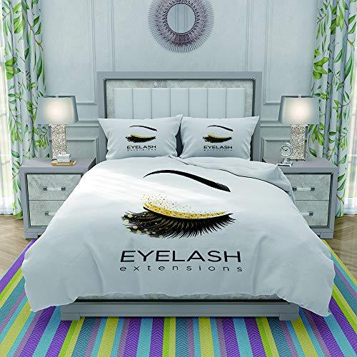 ZIJINJIAJU Sets de Housses de Couettes,Lash Eyelash Extension Makeup in Modern Eye Beauty Eyebrow Cosmetic,Mikrofaser 1 Bettbezuge & 2 Kissenbezuge