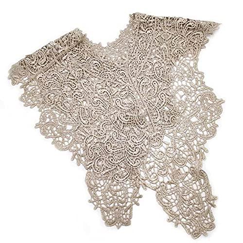 Lentejuelas artesanales de 7 colores 'cuello delantero + cuello trasero' apliques bordados florales para accesorios de decoración de disfraces de bricolaje, un juego (dorado)