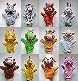 XIAOZSM Juguete de Peluche 12pcs / Lot Mano Divertida de Las Marionetas para los niños Puppets de la Mano de Felpa para la Venta Chinese Zodiac Style Dibujos Animados Mano Mano Tamaño Grande