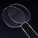 Demonqin 2 bâtons de Raquette de Badminton en Carbone Double Fibre de Carbone Ultra légère Offensive Petite Raquette Noire 4U Raquette Simple 5U Durable-2
