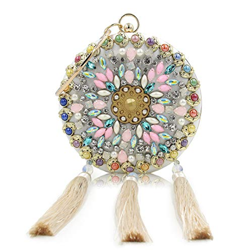 BXGZXYQ Diamant Dinner Bag Quaste Handtasche hochwertige runde Perlen Abendkleid Tasche Lady Bag Dinner Bag Kette kleine quadratische Tasche Bankett Handtasche (Farbe : Apricot)