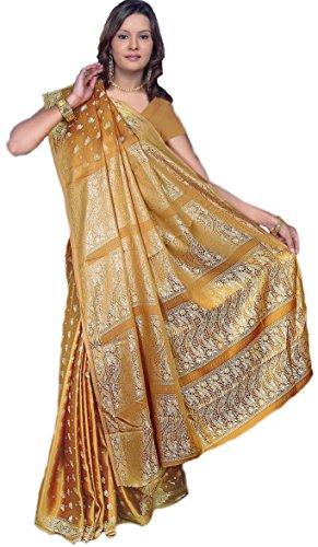Trendofindia Indischer Bollywood Fashion Sari Stoff Damenkostüm Kleid Caramel CA109