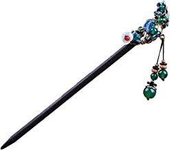 Cloisonne Hair Stick Chinese Women Wooden Hair Accessories with Tassel Packaged in Exquisite Box