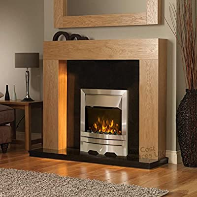 """Electric Oak Timber Surround Black Silver Flame Fire Freestanding Wall LED Fireplace Suite 48"""""""
