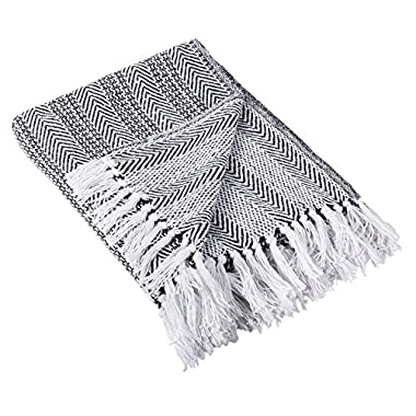 DII Rustic Farmhouse Throw Blanket with Decorative Tassles, Use For Chair, Couch, Bed, Picnic, Camping, Beach, & Just Staying Cozy At Home (50 x 60 ), Herringbone Stripe Black