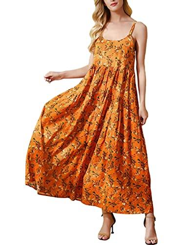 YESNO Women Casual Loose Bohemian Floral Print Dresses Spaghetti Strap Long Maxi Summer Beach Swing Dress XL E75 CR28