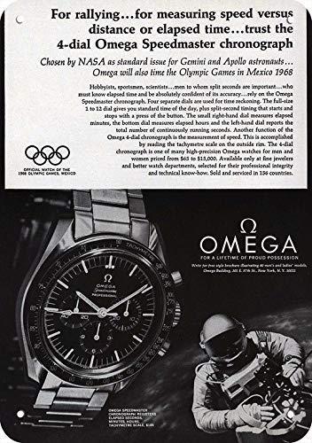 "Lesley Coleridge 1968 Omega Speedmaster Reloj - Géminis - Apollo Moon Astronaut réplica de metal signo 7"" x 10"""