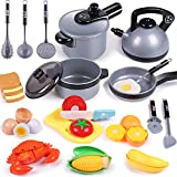 iPlay, iLearn Kids Kitchen Pretend Play Toys, Cooking Set, Pots and Pans, Cookware Playset, Cutting...