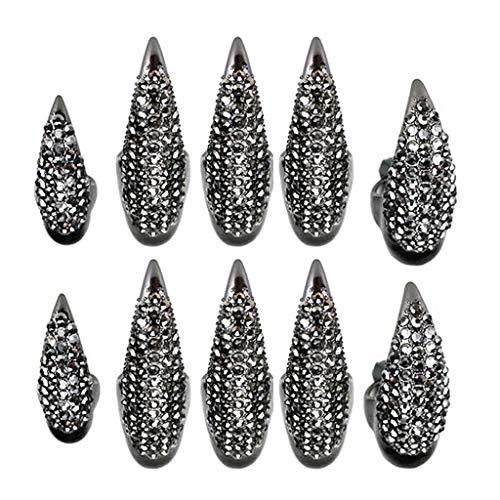 nanjing 10 pezzi costume di Halloween artigli unghie finte anello set punk gotico 3 dimensioni cristallo anelli pieni pavimentati zampa piegata punta delle dita unghia artiglio ragazze donne uomini