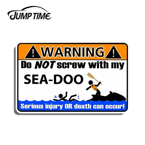 FAFPAY Car sticker Jump time 13cm x 8.1cm funny sea warning decal sticker for xp gtx rxp rxt gti gts spark gtr RXT-X RXP-X waterproof car decoration   Style-1