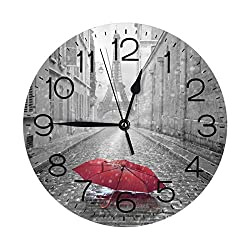Red Umbrellas On Eiffel Tower Street Wall Clock 10 Round,- Battery Operated Wall Clock Clocks for Home Decor Living Room Kitchen Bedroom Office School