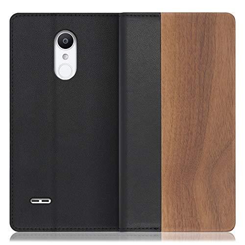 LOOF Nature LG it / LGV36 ケース 手帳型 カバー 本革 天然木 ベルト無し ウッド 木製 木 カード収納 カードポケット 本革 高級 スタンド機能 手帳型ケース スマホケース (胡桃)