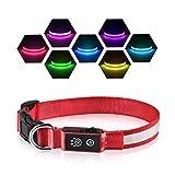 PcEoTllar LED Leuchthalsband Hunde Halsband USB Wiederaufladbar Wasserdicht 7 Farbwechsel Halsband Hund Klein Groß Mittel Super Helle Sicherheit für Die Nacht - Rot - M