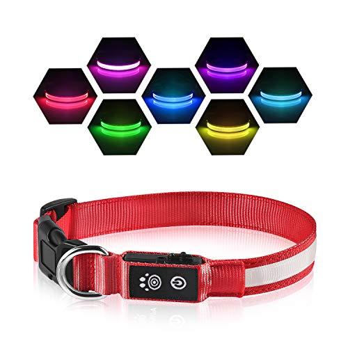 Collare Luminoso per Cani 7 Cambio Colore Ricaricabile USB LED Collare Luminoso di Sicurezza per Animale Domestico con 3 modalità d'ardore e Misura Regolabile - Rosso - M