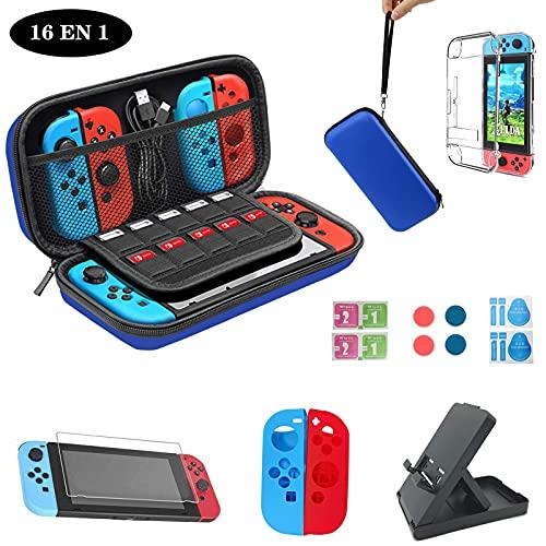 Estuche de transporte para Nintendo Switch Lite, estuche protector y protector de pantalla, estuche de viaje portátil con almacenamiento para juegos y accesorios de Nintendo Switch (azul)