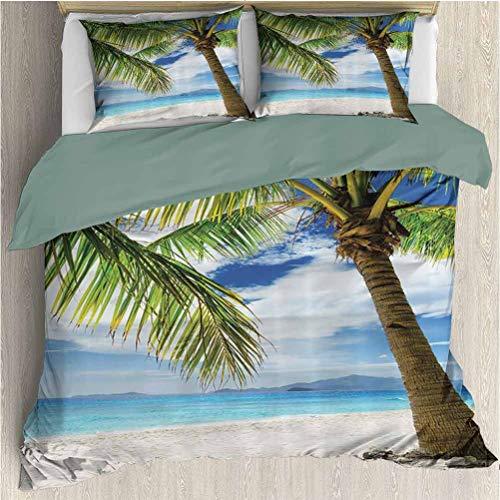 Waynekeysl Ocean Palm Tree Microfiber Duvet Set, Sand Beach Isolated and Philippines Hot Coastline Lonely Tree Photos, Decorative 3 Piece Bedding Set with 2 Pillow Shams, Full Size, Blue Ivory