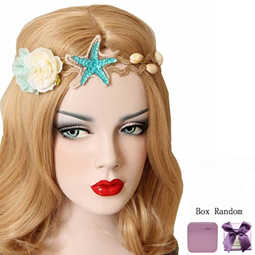 Bodermincer Fashion Ocean Acrylic Starfish Real Shell Wave Headband Elastic Hairband Rose Flowers Forehead Bands Mermaid Hair Accessories Mermaid Hair Band Mermaid Headband (Starfish)
